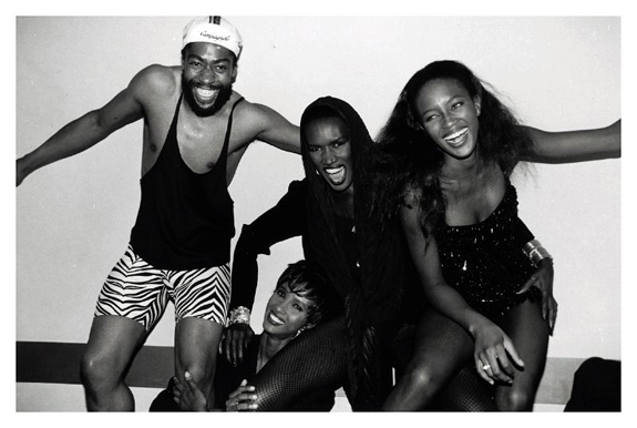 Designer Patrick-Kelly with supermodel Iman, Grace Jones and Naomi Campbell